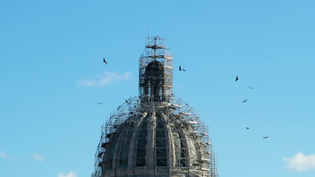 Top of Capitolio Building Covered by Scaffolding, Havana, Cuba