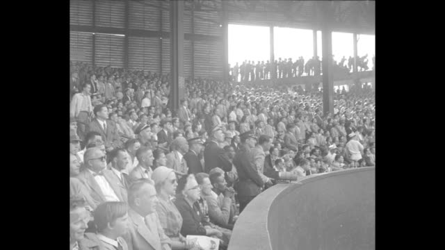 top of first inning of game 1 of the 1954 world series between new york giants and cleveland indians at the polo grounds / first inning giants' sal... - inning stock videos & royalty-free footage