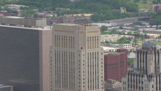 ms aerial ds ts top of jackson county courthouse / kansas city, missouri, united states - missouri stock videos and b-roll footage
