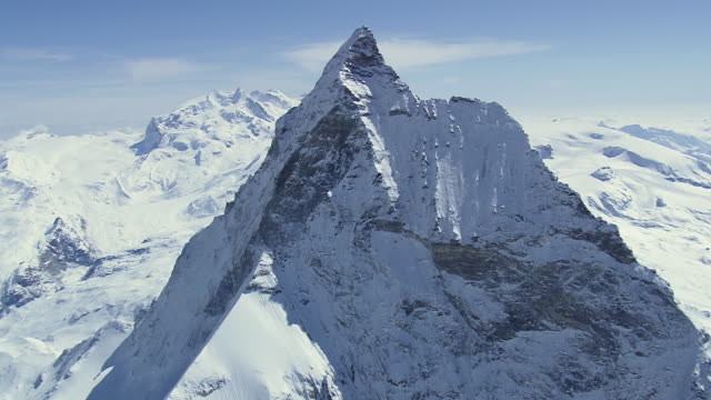 ws aerial ds top of matterhorn mountain / switzerland - snowcapped mountain stock videos & royalty-free footage