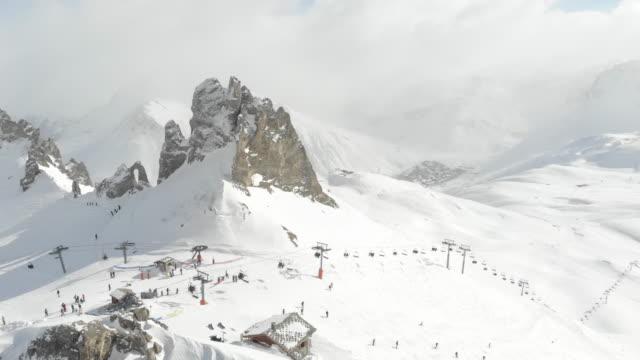 Top of mountain ski lift french Alps