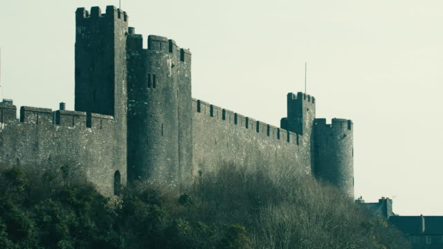 pan top of pembroke castle / pembroke, wales, united kingdom - pembroke stock videos & royalty-free footage