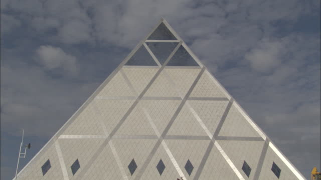 ms, top of pyramid of peace and accord against sky, astana, akmola province, kazakhstan - triangle shape stock videos & royalty-free footage