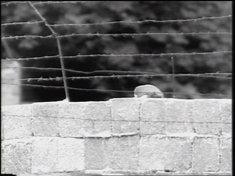 b/w 1961 top of soldier's head marching on other side of berlin wall / cold war / germany - 1961 stock videos & royalty-free footage