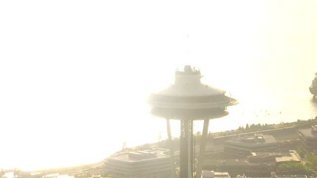 WS AERIAL ZI Top of Space Needle tower / Seattle, Washington, United States