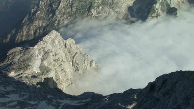 ms, ha,  top of triglav mountain surrounded with clouds, triglav national park, gorenjska, slovenia - triglav national park stock videos and b-roll footage