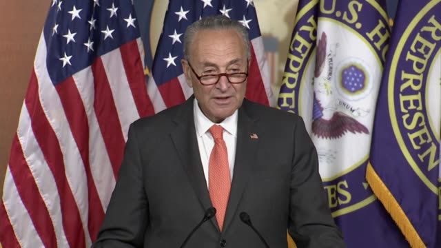 top senate democrat chuck schumer says at a press conference with house speaker nancy pelosi has negotiations continued into a ninth day on a second... - {{asset.href}} stock videos & royalty-free footage