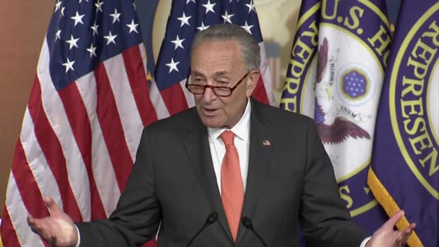top senate democrat chuck schumer says at a press conference with house speaker nancy pelosi as negotiations continued on a second comprehensive... - {{relatedsearchurl(carousel.phrase)}} stock-videos und b-roll-filmmaterial