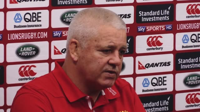 top table press conference with head coach warren gatland previewing the second test against the all blacks. british and irish lions head coach... - last stock videos & royalty-free footage