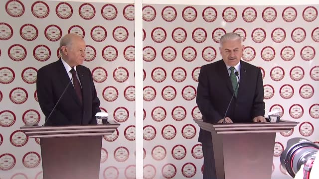top turkish political leaders on may 04 2018 filed paperwork for recep tayyip erdogan to seek another term as presidentprime minister binali yildirim... - minister president stock videos and b-roll footage