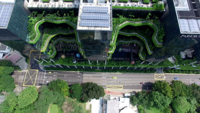 top view above greenery balconies of park royal on pickering, singapore - lush video stock e b–roll