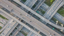 Top view Aerial traffic timelapse