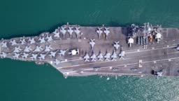 Top View Aircraft Carrier in international waters