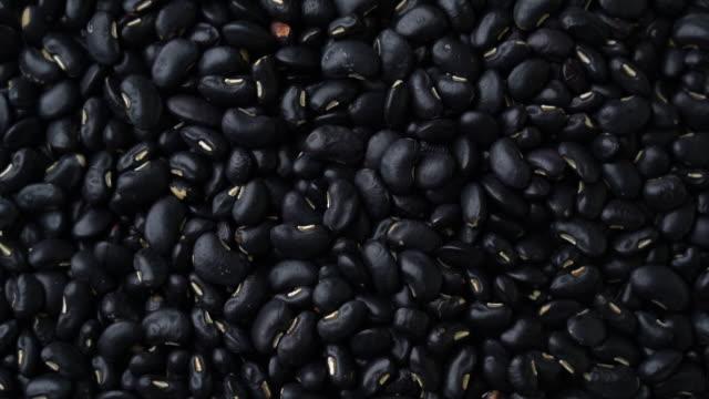 vídeos de stock, filmes e b-roll de vista superior: pilha de feijão preto girando com close-up shot - bean