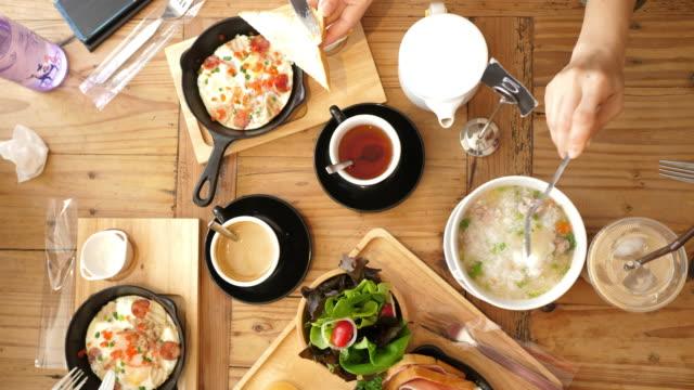 top view breakfast food - brunch stock videos & royalty-free footage
