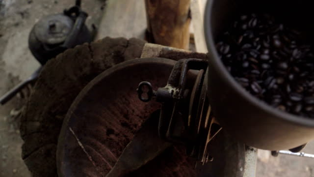 Top view: Coffee seed in traditional coffee grinder