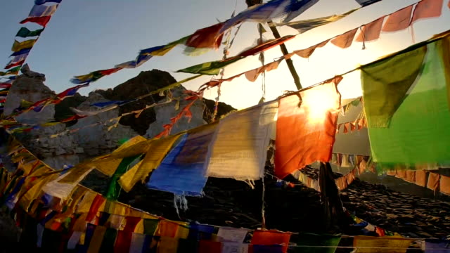 top view colorful prayer flags on  the hill in leh,india - traditionally tibetan stock videos & royalty-free footage
