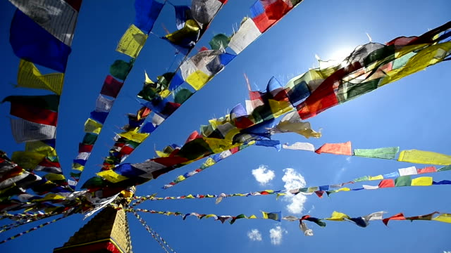 top view colorful prayer flags on the nepal - traditionally tibetan stock videos & royalty-free footage