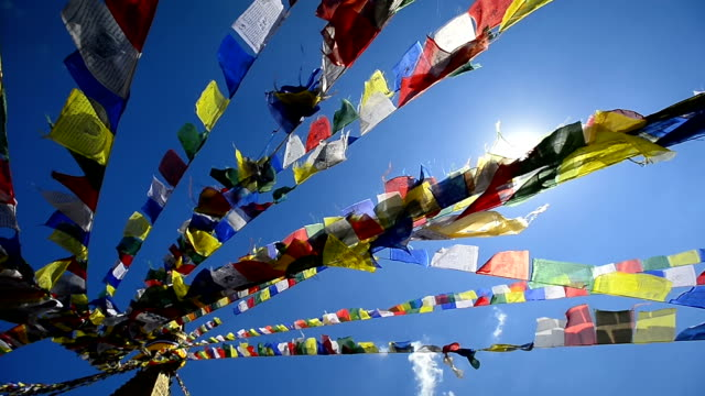 top view colorful prayer flags on the nepal - kathmandu stock videos & royalty-free footage