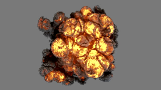 top view explosion with smoke coming at cam and luma matte - fireball stock videos & royalty-free footage