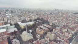 Top view first snow in istanbul