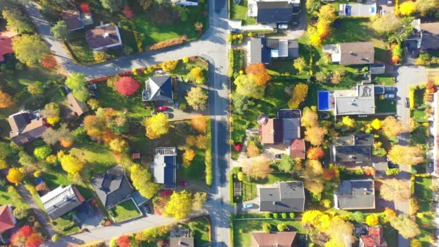 top view, flying over idyllic villa area - residential district stock videos & royalty-free footage