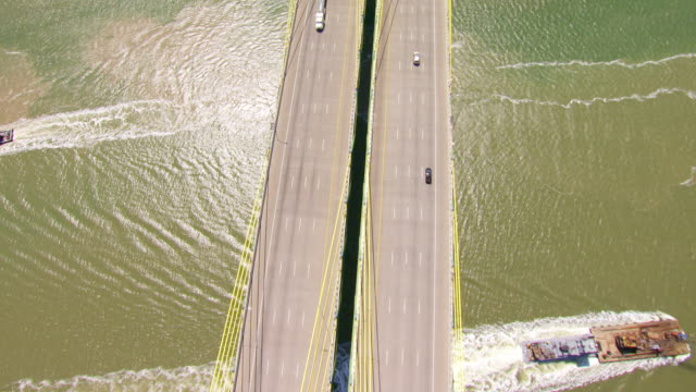 ws aerial top view high over fred hartman bridge / houston, texas, united states - sea channel stock videos and b-roll footage