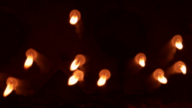 top view of a bunch of candles - memorial vigil stock videos & royalty-free footage