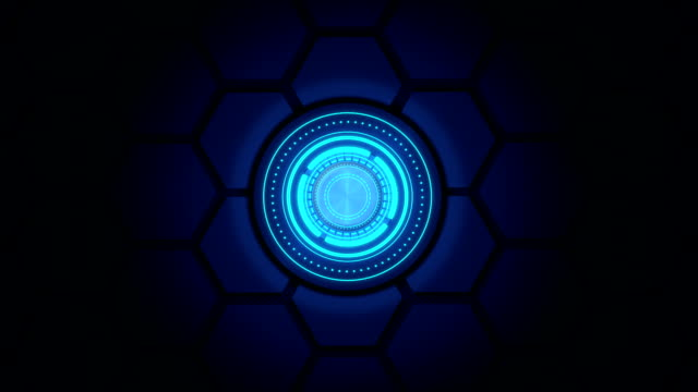 top view of abstract digital circle technology on dark blue background - button stock videos & royalty-free footage