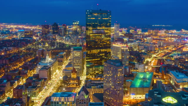 top view of boston city center at night - boston stock videos and b-roll footage