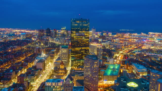 top view of boston city center at night - downtown stock videos & royalty-free footage