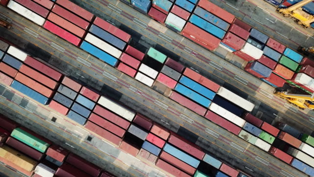 top view of box-container in shipping port cargo - container stock videos & royalty-free footage