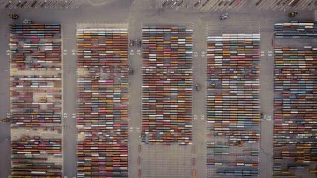 Top view of box-container in shipping port cargo, Zoom out.