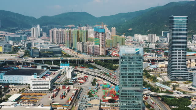 top view of business and industrial area, shenzhen, china - trade war stock videos & royalty-free footage