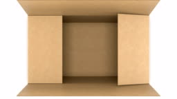 Top View of Cardboard Box Opening and Closing on White and Black Backgrounds with Alpha Mask Seamless. Looped 3d Animation of Storage Box. Delivery Concept.
