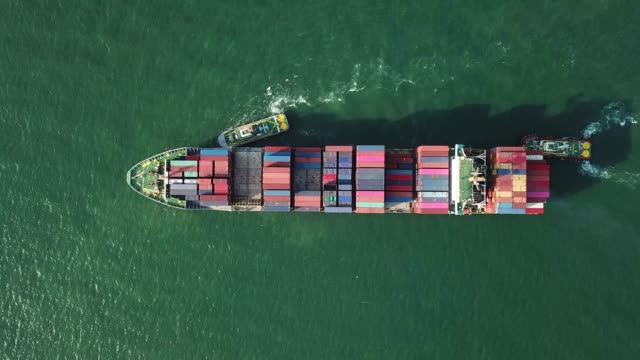 top view of container ship in sea - container stock videos & royalty-free footage