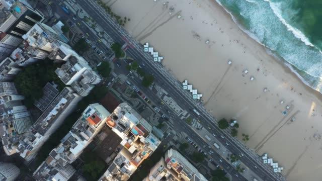 top view of copacabana in rio de janeiro - rio de janeiro stock videos & royalty-free footage