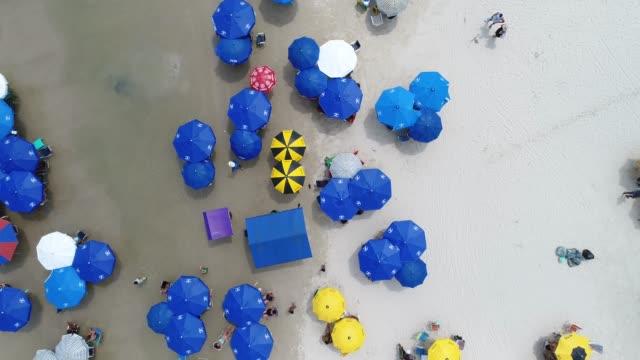 vista dall'alto di crowd beach - ombrello video stock e b–roll