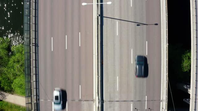 top view of essingeleden highway bridge. - sweden stock videos & royalty-free footage