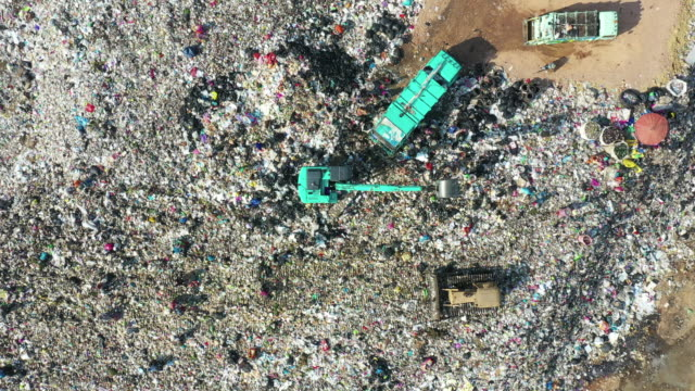 top view of garbage mountain - dumper truck stock videos & royalty-free footage