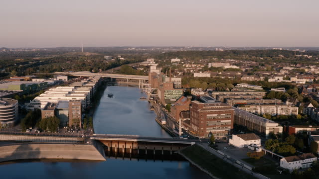 top view of harbour in duisburg, germany - mayor stock videos & royalty-free footage