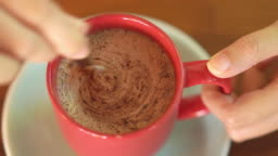 Top view of Hot Chocolate in red cup