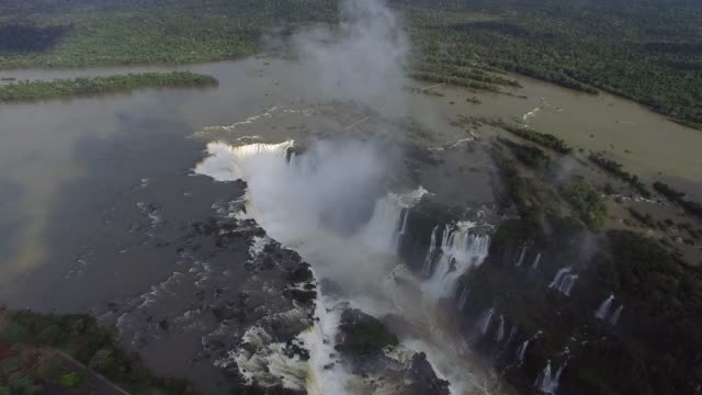 top view of iguazu falls, on the border of brazil and argentina. - brazilian culture stock videos & royalty-free footage