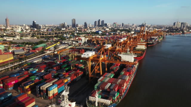 top view of modern industrial port with containers.it is an import and export cargo port where is a part of shipping dock. - bangkok stock videos & royalty-free footage