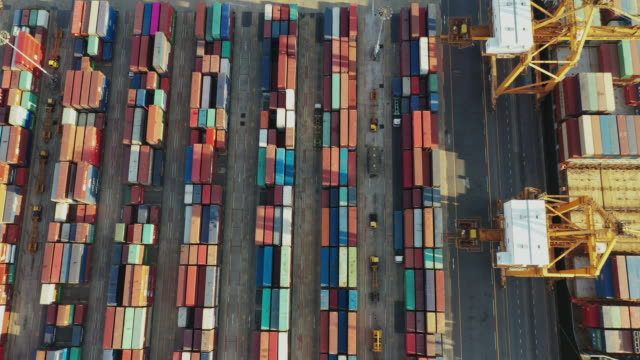 top view of modern industrial port with containers.it is an import and export cargo port where is a part of shipping dock. - famous place stock videos & royalty-free footage
