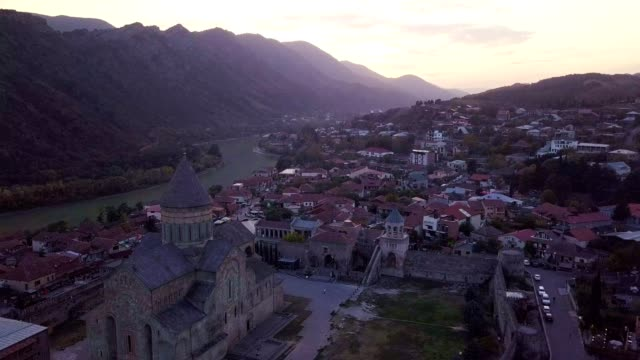 top view of mtskheta georgia at confluence of rivers mtkvari aragvi - wallfahrt stock-videos und b-roll-filmmaterial