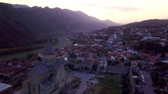top view of mtskheta georgia at confluence of rivers mtkvari aragvi - pilgrimage stock videos & royalty-free footage
