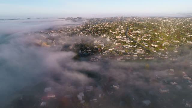 top view of properties covered with morning fog. - auckland stock videos & royalty-free footage