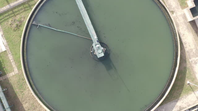 top view of recirculation solid contact clarifier sedimentation tank. industrial water treatment in factory. - reservoir stock videos and b-roll footage
