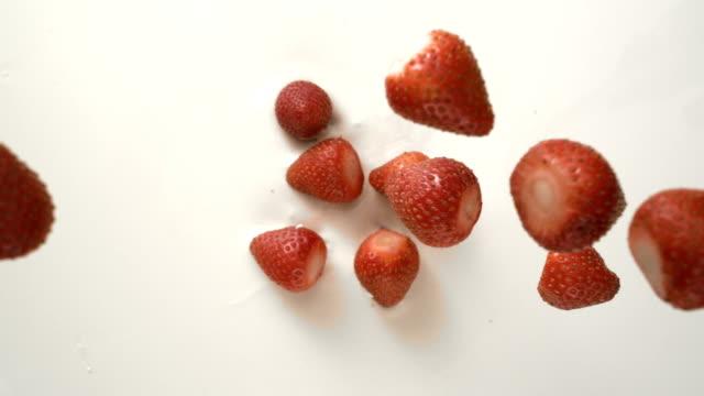 top view of red strawberries falling in white cream yogurt - fragola video stock e b–roll